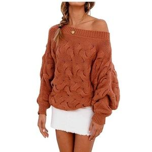 Off Shoulder Slouchy Knit Oversized Sweater Rust